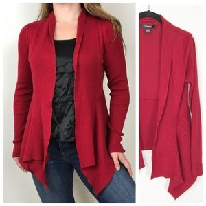 89th & MADISON Red Soft Cozy Waterfall Cardigan M